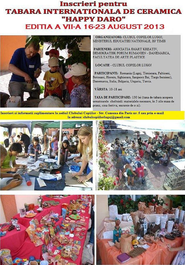 tabara happy daro clubul copiilor lugoj ceramica lugojeanul 2013