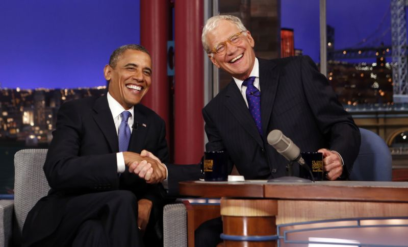 "File photo of U.S. President Barack Obama with David Letterman on the ""Late Show with David Letterman"" at the Ed Sullivan Theater in New York City"